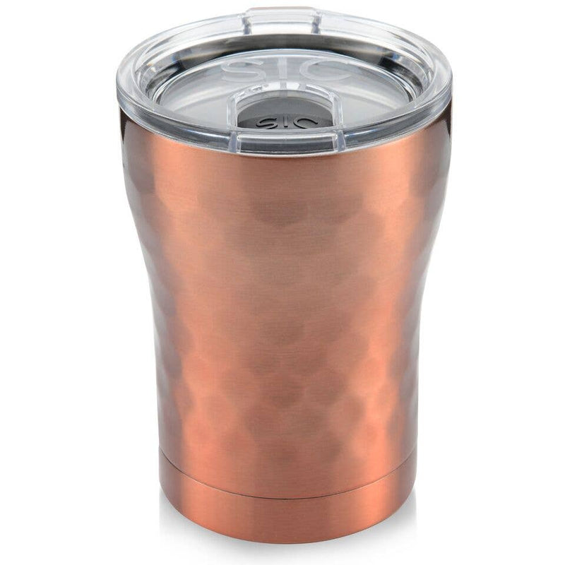 12 oz Hammered Copper Stainless Steel Tumbler with transparent lid
