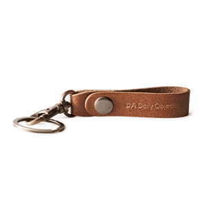Brown Real Leather Keychain