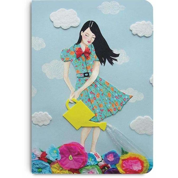 Girl In Flowerland A5 Notebook Plain - TheArtsyBox