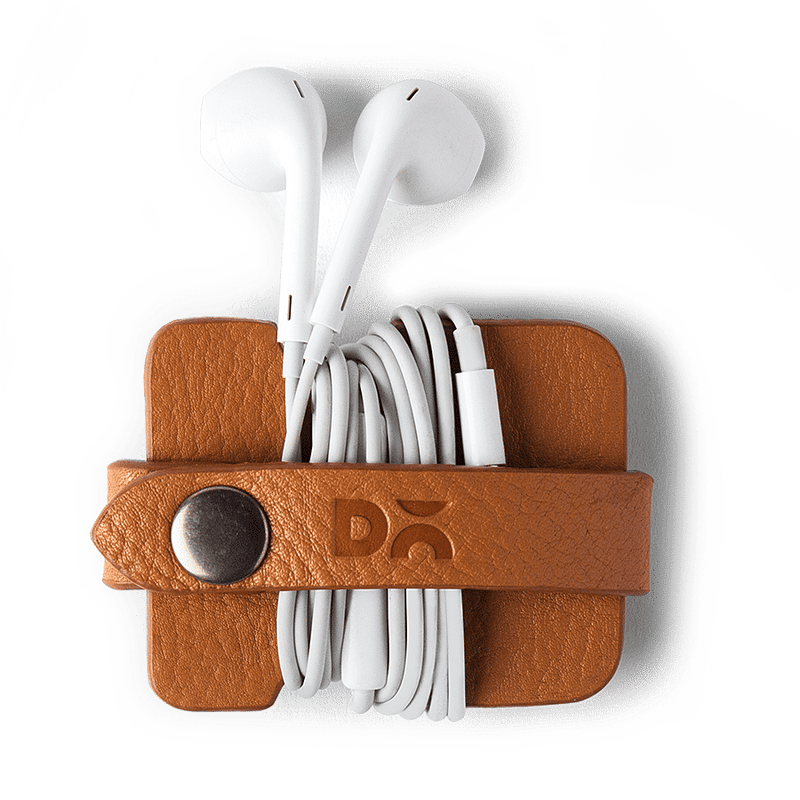 Tan Mini Leather Cable Wrap - TheArtsyBox