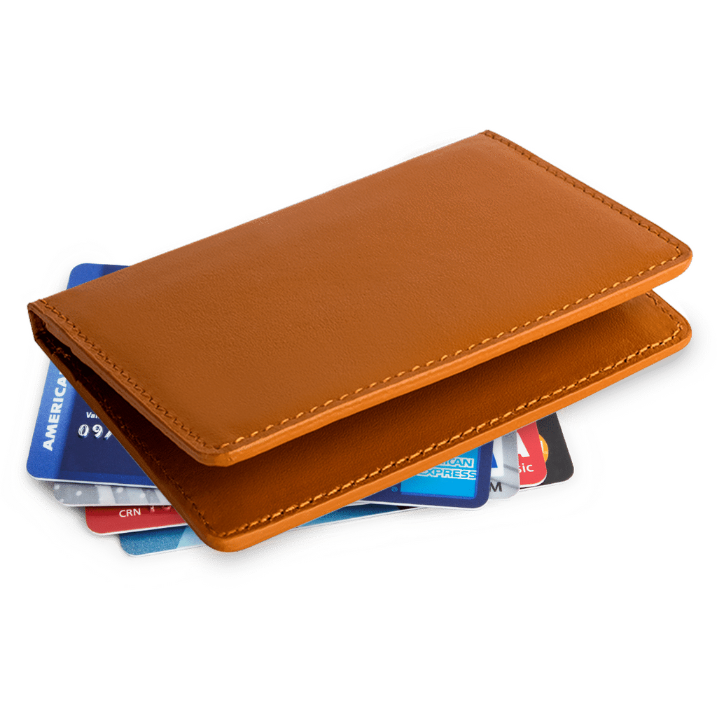 Tan Real Leather Card Wallet