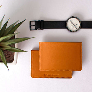 Tan Real Leather Card Wallet - TheArtsyBox
