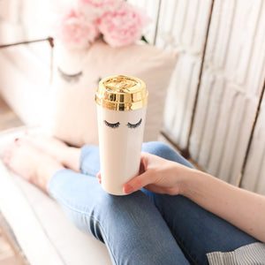 Eyelashes Gold Travel Mug - TheArtsyBox