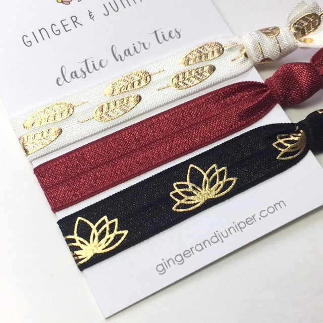 Hair Ties set - Feathers, Lotus, Wine
