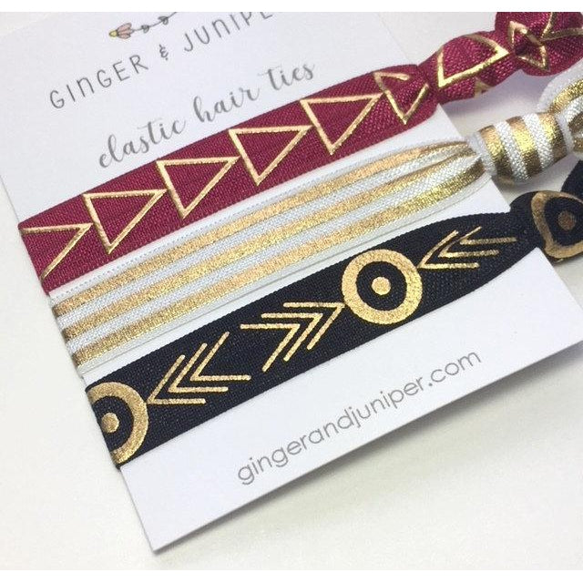 Hair Ties set - Triangles, Stripe, Black geometric