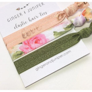 Hair Ties set - Love on peach, Floral, Sage - TheArtsyBox