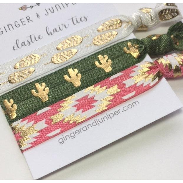 Hair Ties set - Feathers, Cacti on green, Pink Aztec