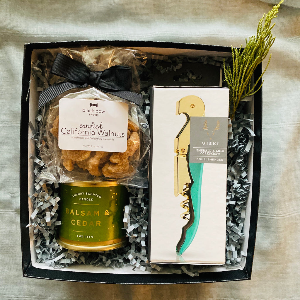 Candied pecans bag, balsam cedar candle and emerald wine opener in Black keepsake gift box perfect as a holiday gift.