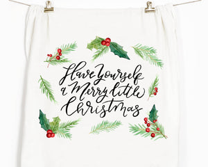 Merry little christmas tea towel