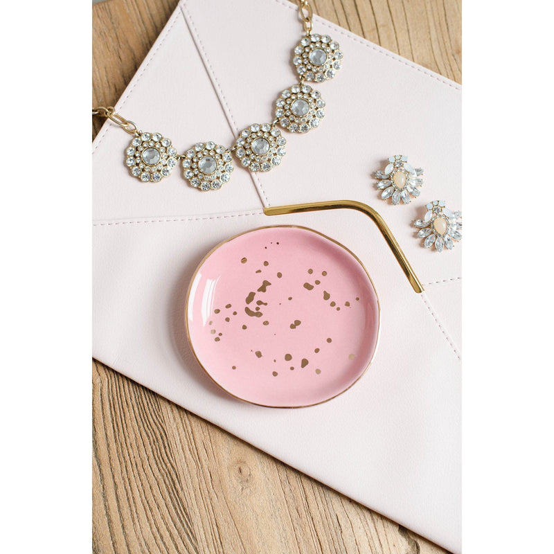 Pink and Gold Speckled Jewelry Dish - TheArtsyBox