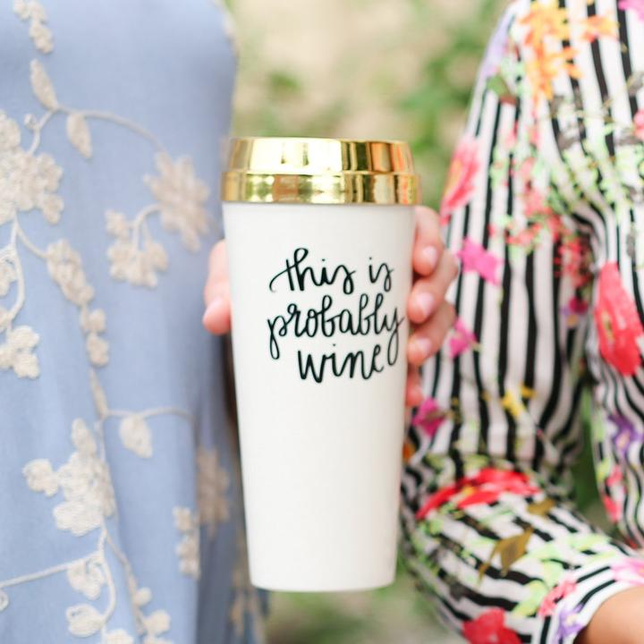 This is probably wine Gold travel mug - TheArtsyBox