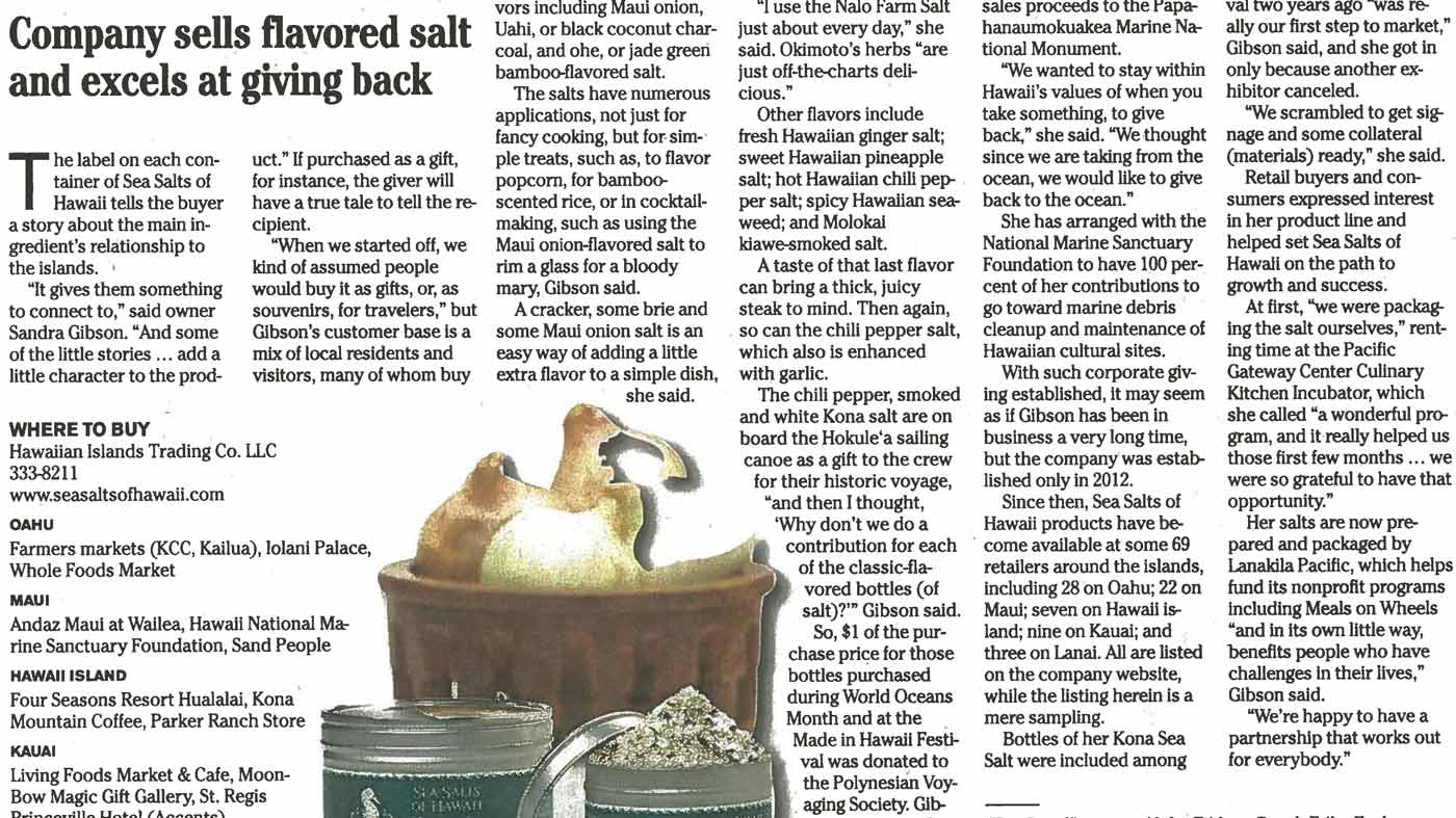 Honolulu Star Advertiser: Company Sells flavored salt and excels at giving back