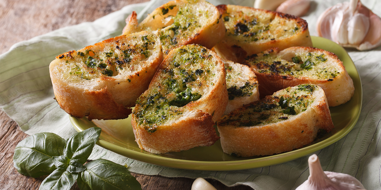 Grilled Garlic Bread with Olive Oil and 'Alaea Red Hawaiian Sea Salt