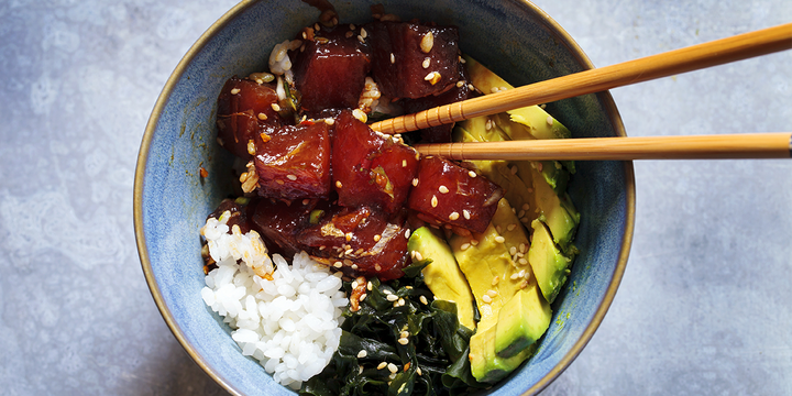Poke Bowl with Spicy Seaweed Hawaiian Sea Salt