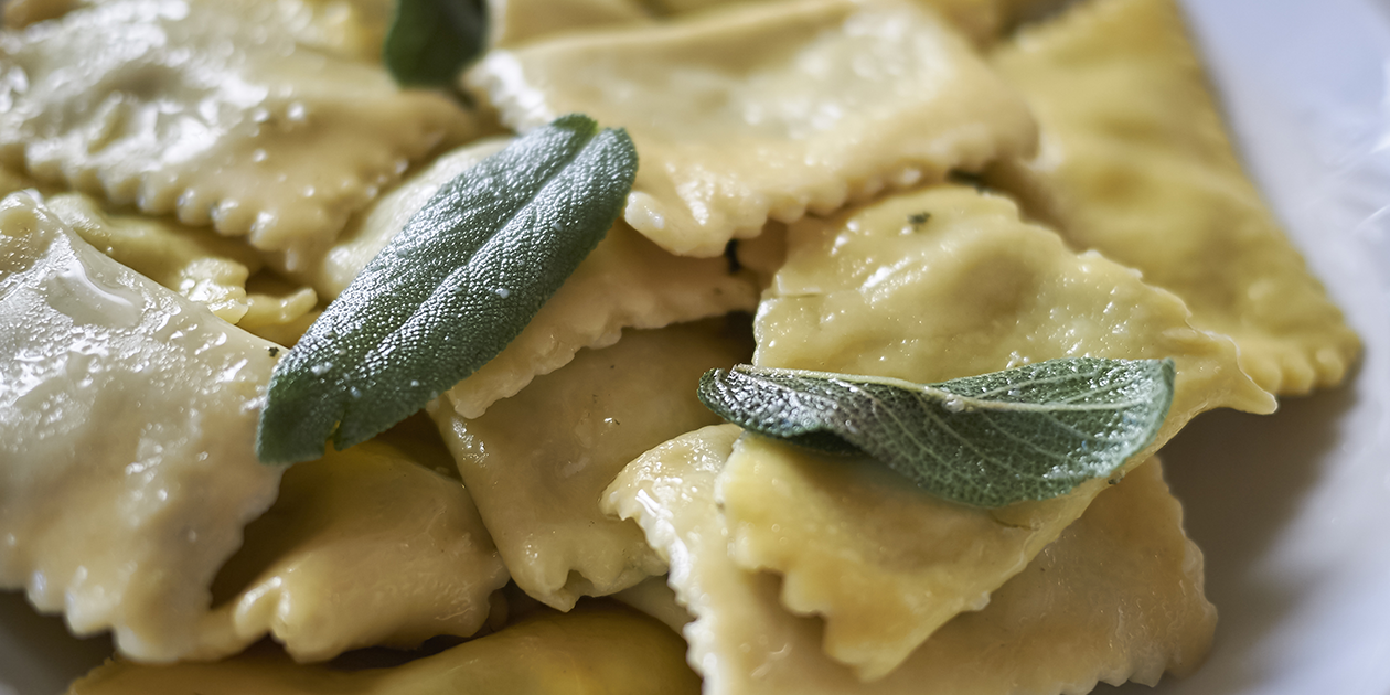 Fresh Ravioli with Butter, locally grown Nalo Farm Fresh Sage, Parmesan and Kiawe Smoked Hawaiian Sea Salt