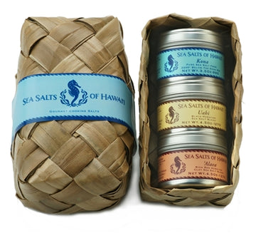 Palm Leaf Gift Basket with three Hawaiian Sea Salt Tins