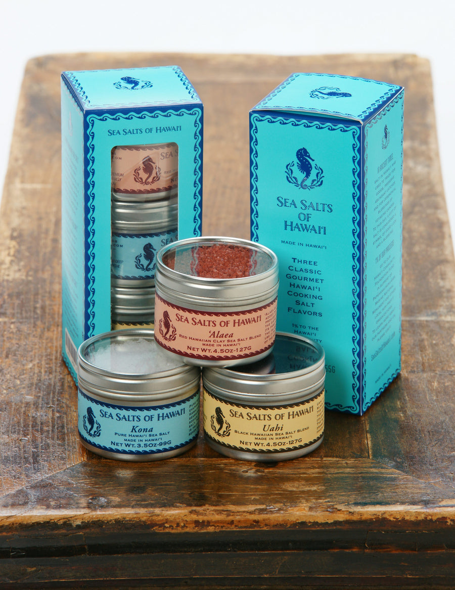 Gift Box with three tins of Hawaiian Alaea Red, Kona White and Uahi Black Hawaiian Sea Salts
