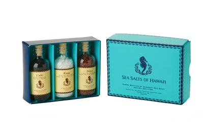 Hawaiian Sea Salt Gift Box with three 2oz glass bottles of red, black and white Hawaiian Salts