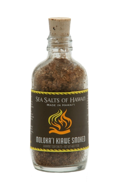 Kiawe Wood Smoked Hawaiian Sea Salt in 4oz Glass Bottle