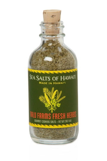 Pure Hawaiian Sea Salt with fresh farm grown herbs in 2oz glass bottle