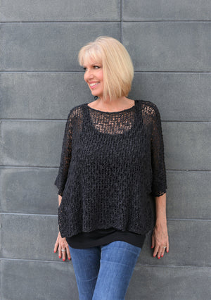 Knit Crop Top-Black / one size-Sleeves 2 Go