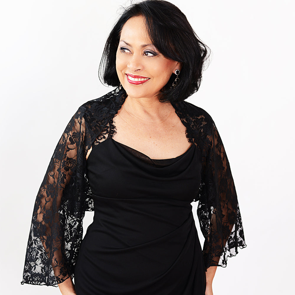 The Shrug & Scarf-Black Lace Shrug / One Size-Sleeves 2 Go