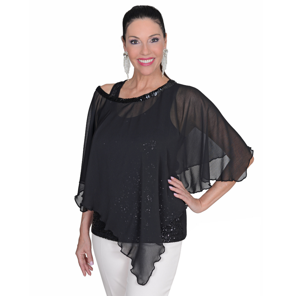 Chiffon Poncho-Black Poncho with Sequin Neckline / One Size / Poly Chiffon / Washable-Sleeves 2 Go