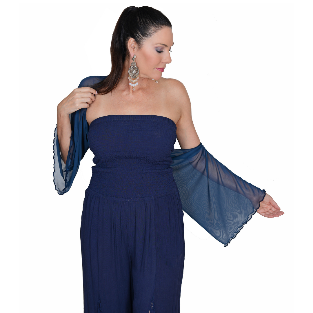 The Shrug & Scarf-Royal Blue Shrug / One Size-Sleeves 2 Go