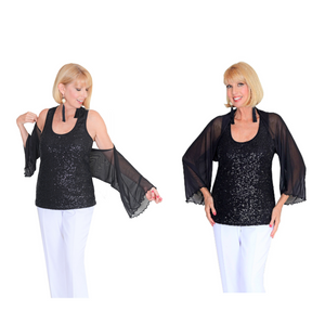 The Shrug & Scarf-Basic Black Shrug / One Size-Sleeves 2 Go