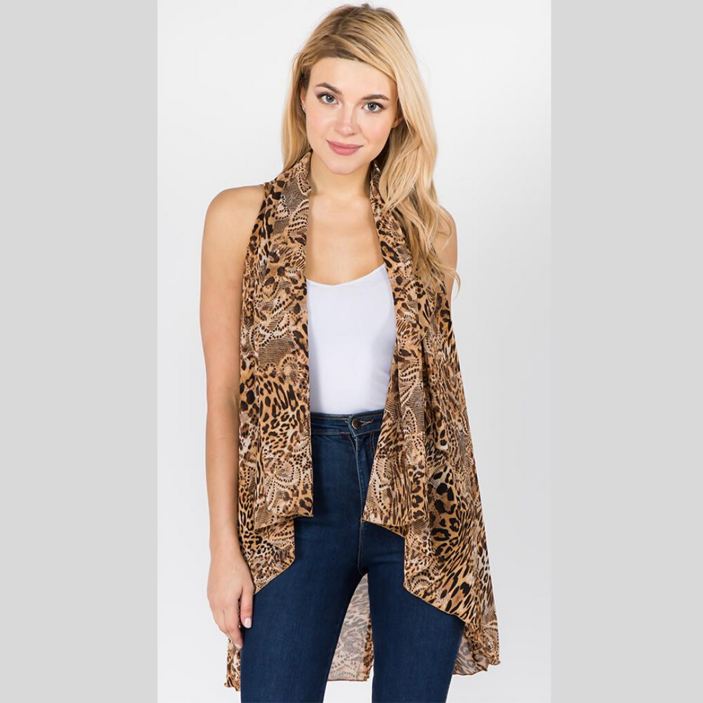 Versatile Vest-Tan Safari Glamour / One Size / Poly Chiffon-Sleeves 2 Go