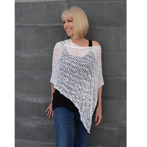 Knit Poncho-White-Sleeves 2 Go