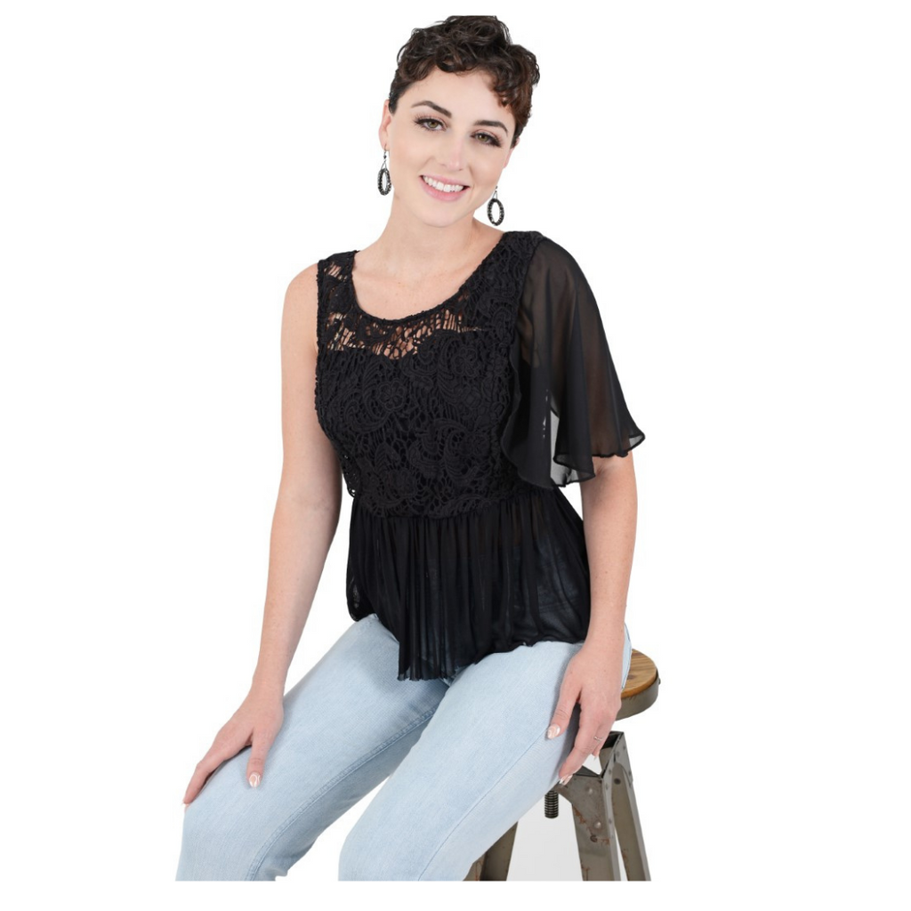 Black Attachable Flutter Sleeves--Sleeves 2 Go