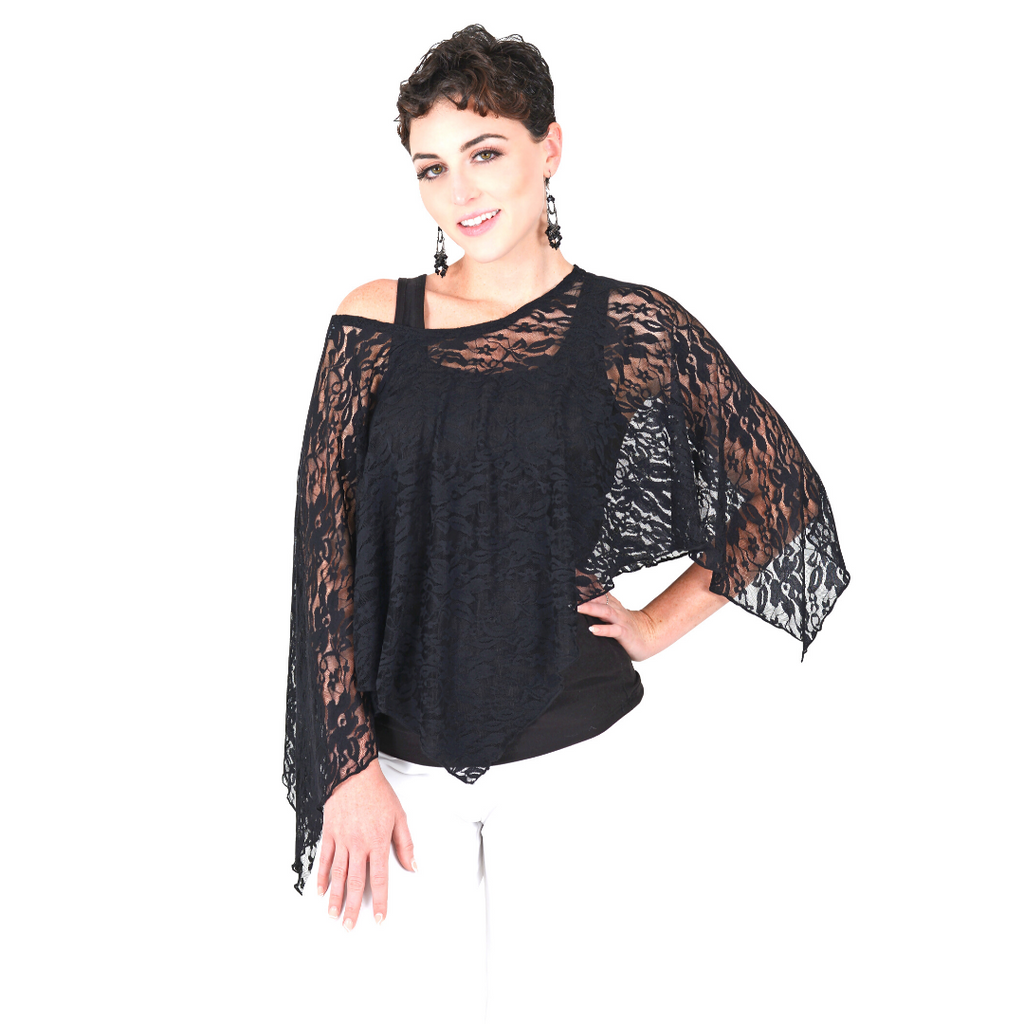 The Poncho-Black Lace Poncho / One Size-Sleeves 2 Go