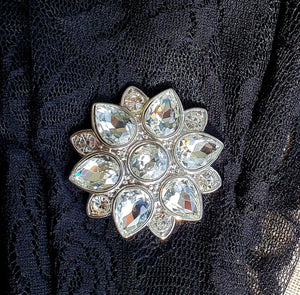 Magnetic Brooch-Rhinestone Flower-Sleeves 2 Go