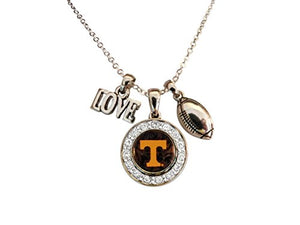 Tennessee Volunteers Multi Charm Black Orange & Silver Love TN Vols Football Necklace Jewelry