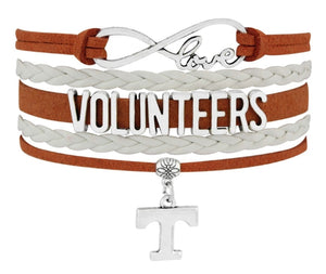 Modern, Trendy, Tennessee Vols Silver Toned Bracelet with UT Charm