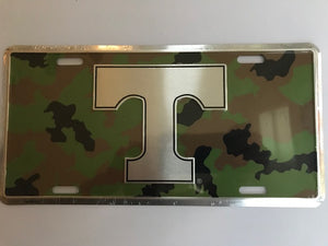 Tennessee Volunteers Camo Metal License Plate Tag