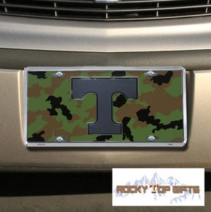 Tennessee Volunteers Camo Metal License Plate Car Tag