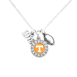 Tennessee Volunteers Multi Charm Orange White & Silver Love TN Vols Football Necklace