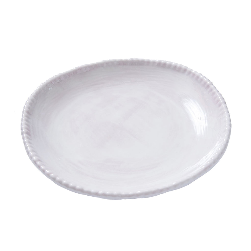 Bead Melamine Dinner Plate, White