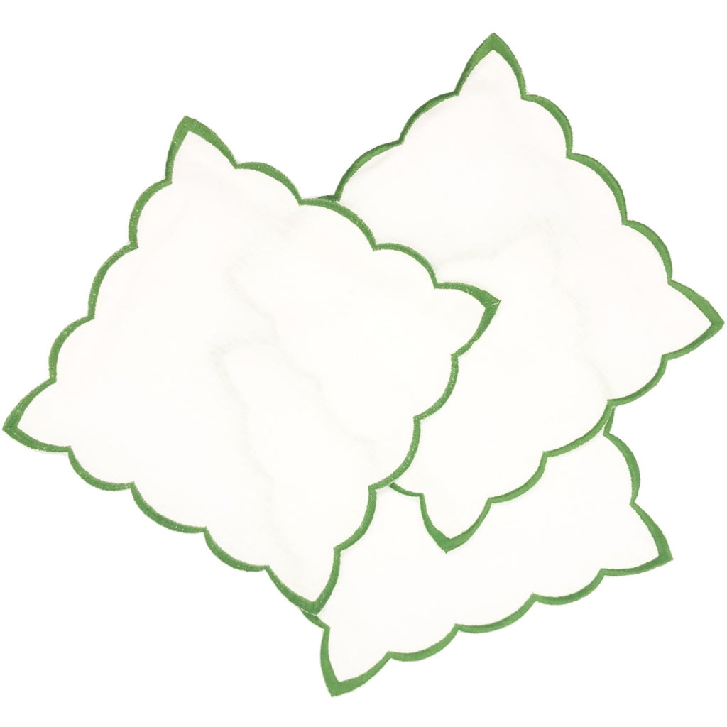 Scallop Cocktail Napkins, Green