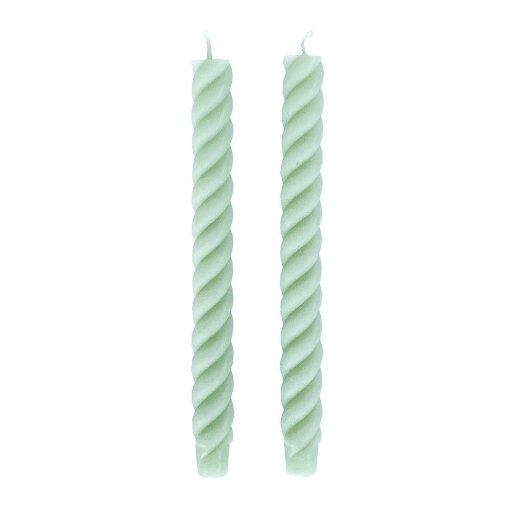 Rope Taper Candles, Celadon