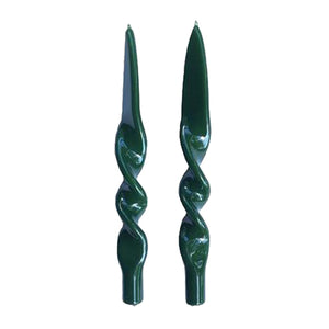 Twist Candle Set, Dark Green