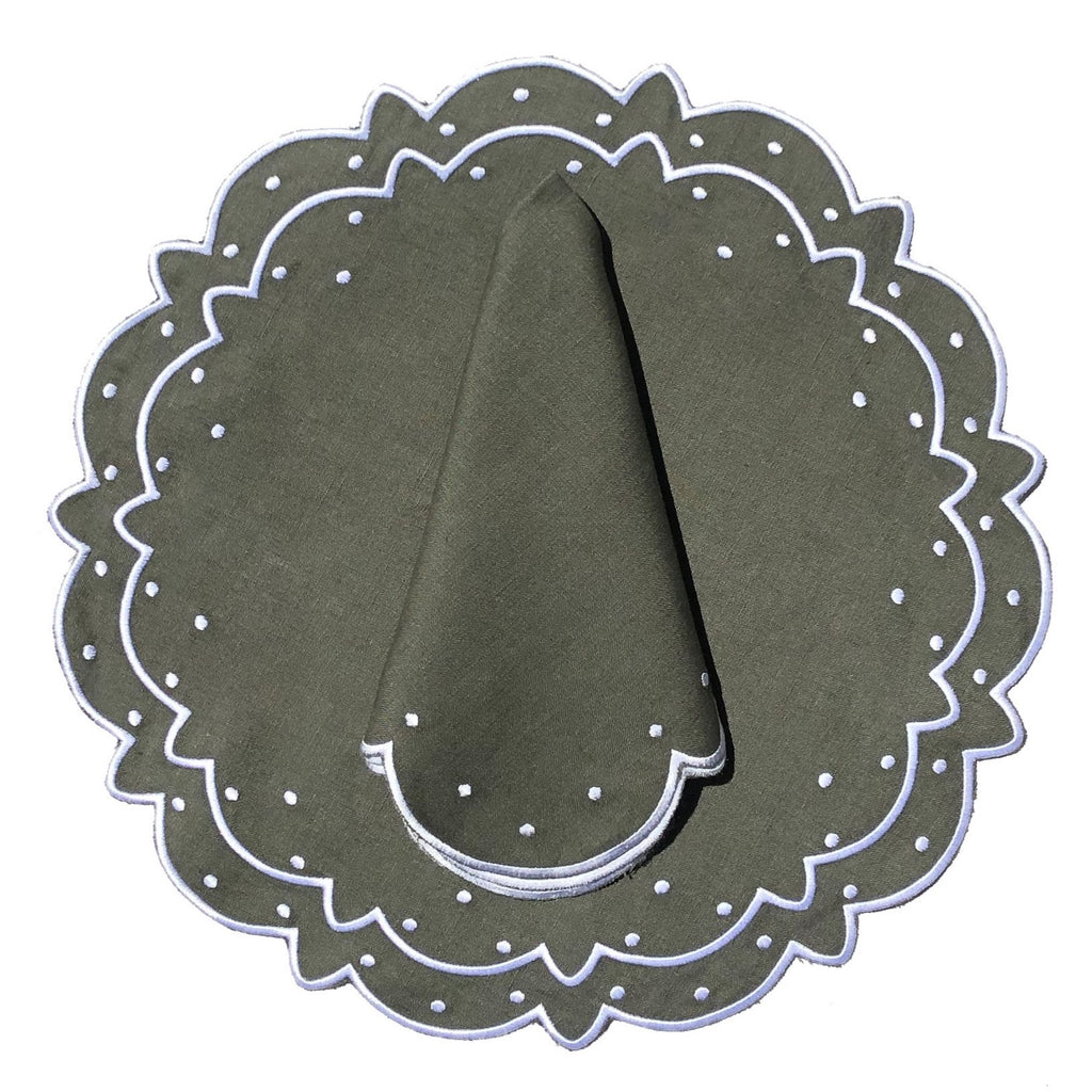 Scalloped Napkin, Olive