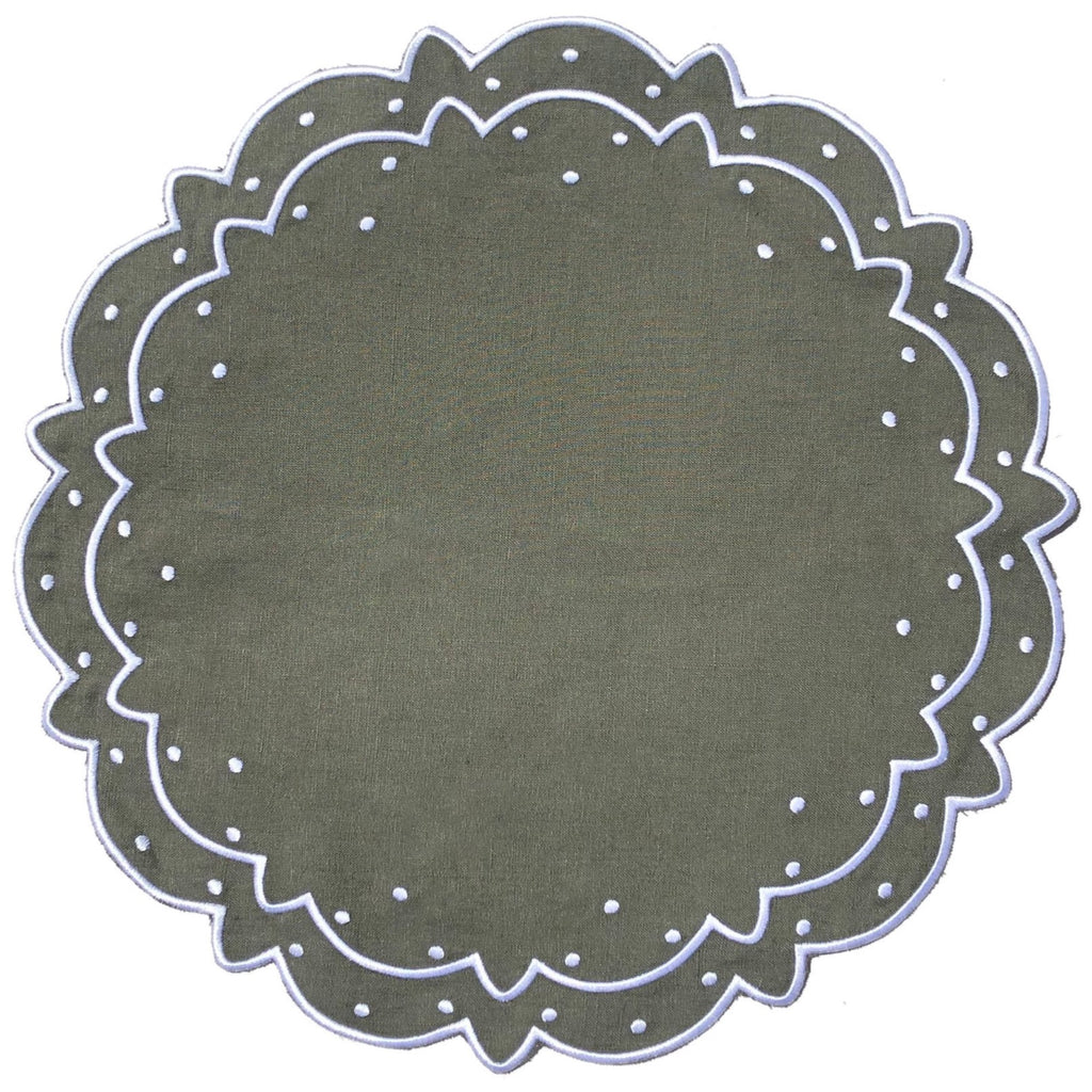Scalloped Placemat, Olive