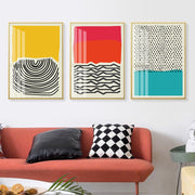Modern Multicolored Red Blue Abstract Geometric Wall Art Canvas Painting