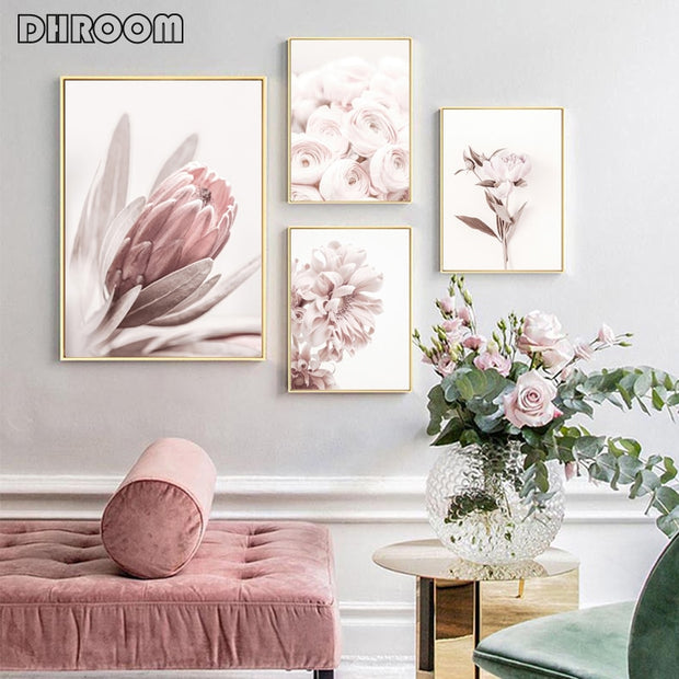 Flowers Wall Art Peony Posters Protea Rose Canvas Painting