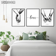 Nordic Posters Prints Holding Hands Canvas Painting