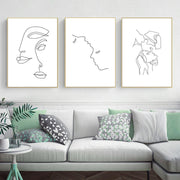 Abstract Lady Line Drawing Picture Home Decor