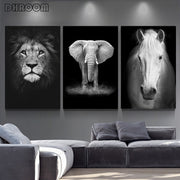 Canvas Painting Animal Wall Art Lion Elephant Deer Zebra Posters and Prints